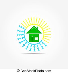 Flat logo with the image of home, sun and snowflake
