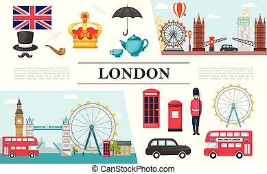 Flat London Elements Composition