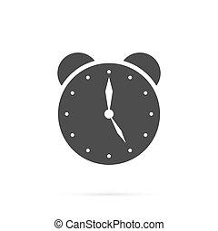 Flat long clock icon isolated on white background