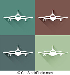 Flat long shadow air plane icon
