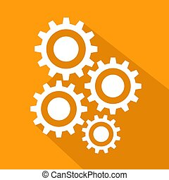 Flat long shadow icon of gears, stock vector illustration
