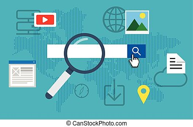 Search engine optimization. - Flat loupe icon SEO, Search...