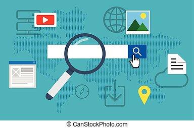 Search engine optimization. - Flat loupe icon SEO, Search...