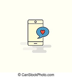 Flat Love chat Icon. Vector