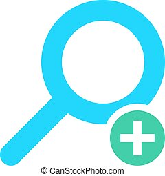 Flat magnifier icon magnifying glass sign