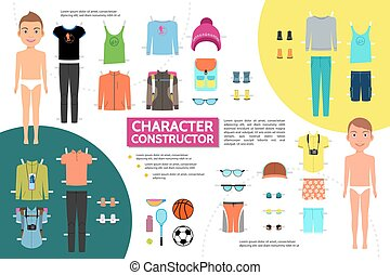 Flat Male Athlete Character Infographic Concept