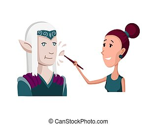 Flat male character of professional actor. Flat cartoon vector illustration. TV person at work. Makeup