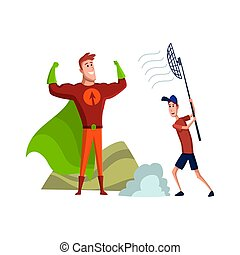 Flat male character of professional actor. Flat cartoon vector illustration. TV person at work. Actor with halper