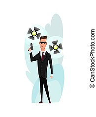 Flat male character of professional actor. Flat cartoon vector illustration. TV person at work. Superhero in black suit