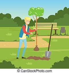Flat man character planting tree in the park