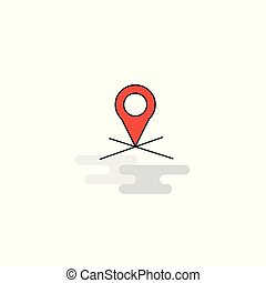 Flat Map location Icon. Vector