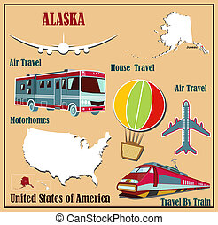 flat map of alaska in the u s for air travel by car and train
