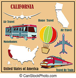 Flat map of  California in the U.S. for air travel by car and train.