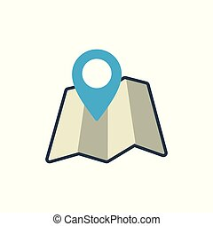 map with pin location icon on white background