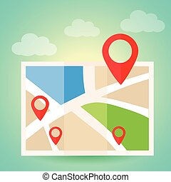 Flat map with pins. Vector location pointer icon. Markers on the Map.