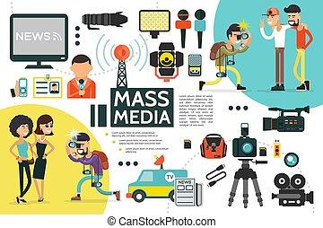 Flat Mass Media Infographic Template - Flat mass media...