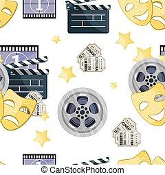 Flat material design endless repeating film reel background pattern.