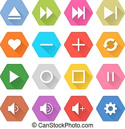 Flat media icon 16 set hexagon web button