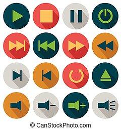 Flat Media icons
