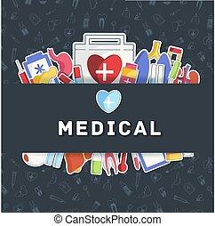 flat medical equipment set icons concept background. vector illustration design