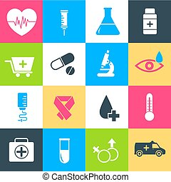 flat medical equipment set icons concept background. vector illustration design for web and mobile template