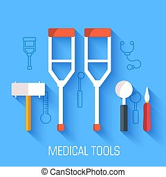 flat medical equipment set icons crutches concept background. vector illustration design for web and mobile template