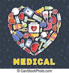 flat medical equipment set in shape heart icons concept background. vector illustration design