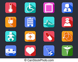 flat medical long shadow icons - isolated flat medical long...