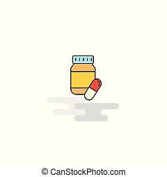 Flat Medicine Icon. Vector