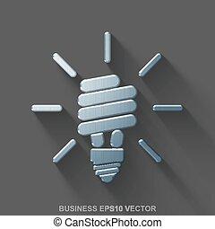Flat metallic business 3D icon. Polished Steel Energy Saving Lamp on Gray background. EPS 10, vector.