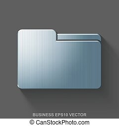Flat metallic business 3D icon. Polished Steel Folder on Gray background. EPS 10, vector.