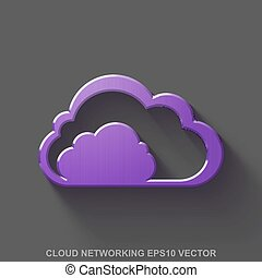 Flat metallic cloud computing 3D icon. Purple Glossy Metal Cloud on Gray background. EPS 10, vector.