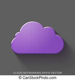 Flat metallic cloud technology 3D icon. Purple Glossy Metal Cloud on Gray background. EPS 10, vector.