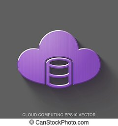 Flat metallic cloud technology 3D icon. Purple Glossy Metal Database With Cloud on Gray background. EPS 10, vector.