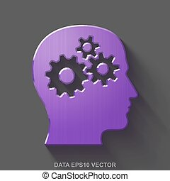 Flat metallic Data 3D icon. Purple Glossy Metal Head With Gears on Gray background. EPS 10, vector.