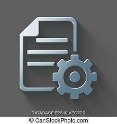 Flat metallic Database 3D icon. Polished Steel Gear on Gray background. EPS 10, vector.