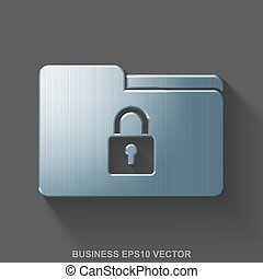 Flat metallic finance 3D icon. Polished Steel Folder With Lock on Gray background. EPS 10, vector.