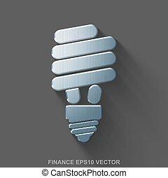 Flat metallic finance 3D icon. Polished Steel Energy Saving Lamp on Gray background. EPS 10, vector.
