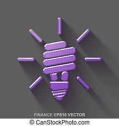 Flat metallic finance 3D icon. Purple Glossy Metal Energy Saving Lamp on Gray background. EPS 10, vector.