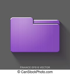 Flat metallic finance 3D icon. Purple Glossy Metal Folder on Gray background. EPS 10, vector.