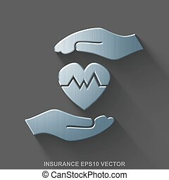Flat metallic Insurance 3D icon. Polished Steel Heart And Palm on Gray background. EPS 10, vector.
