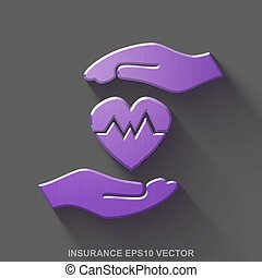 Flat metallic Insurance 3D icon. Purple Glossy Metal Heart And Palm on Gray background. EPS 10, vector.