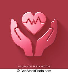 Flat metallic Insurance 3D icon. Red Glossy Metal Heart And Palm on Red background. EPS 10, vector.