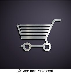 Flat metallic logo shopping cart.