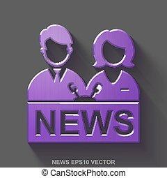 Flat metallic news 3D icon. Purple Glossy Metal Anchorman on...