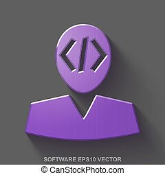 Flat metallic Programming 3D icon. Purple Glossy Metal Programmer on Gray background. EPS 10, vector.