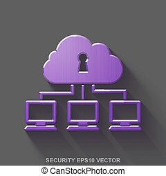 Flat metallic safety 3D icon. Purple Glossy Metal Cloud Network on Gray background. EPS 10, vector.