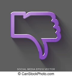 Flat metallic social media 3D icon. Purple Glossy Metal Thumb Down on Gray background. EPS 10, vector.