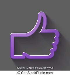 Flat metallic social media 3D icon. Purple Glossy Metal Thumb Up on Gray background. EPS 10, vector.
