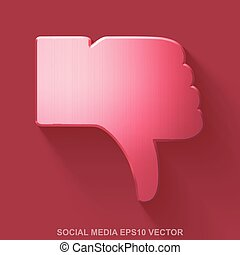Flat metallic social network 3D icon. Red Glossy Metal Thumb...